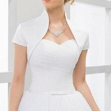 Custom made Short Sleeves wedding jacket New Arrival satin bolero jackets  for evening dresses Free shipping d5569a48d707