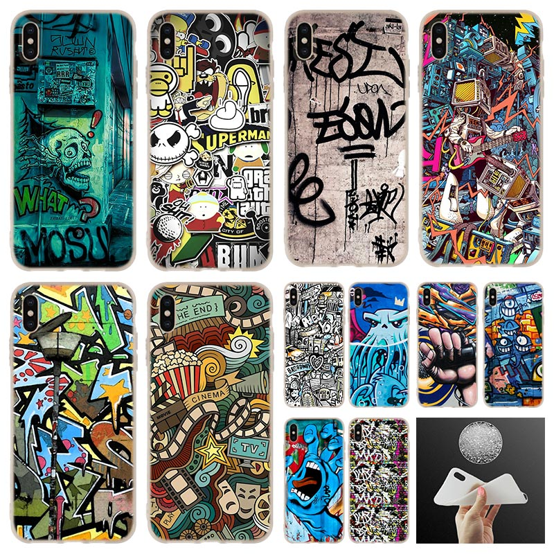 graffiti wallpaper soft silicone Phone Case cover For iPhone 11 Pro 7 8 Plus XR XS Max 4 5 5S SE 6 6s case Funda Etui Cases image