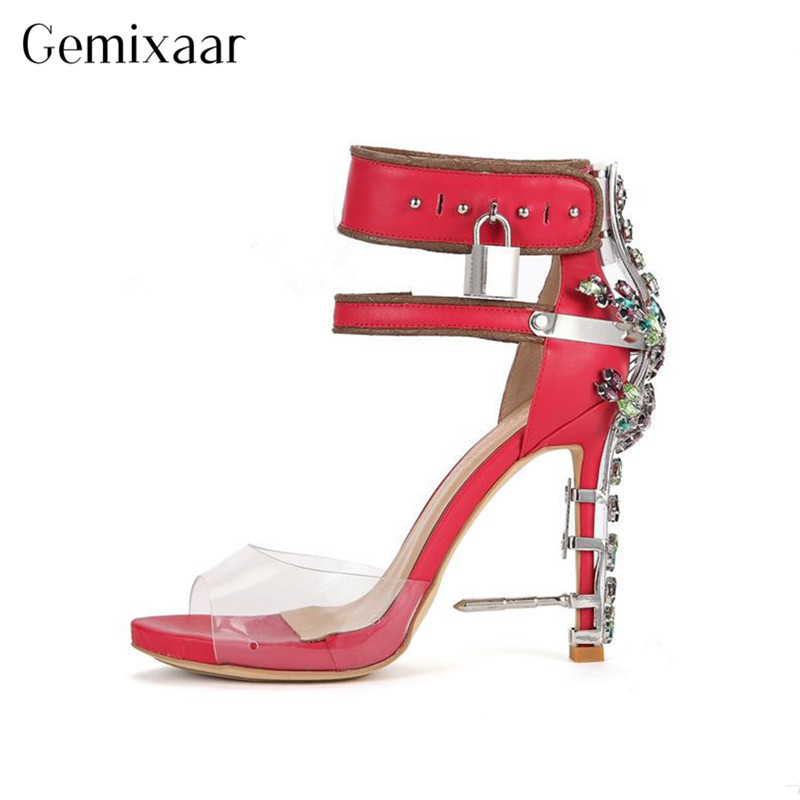 2019 Novelty Metal Stone Shoes Ankle Strap Thin High Heels Sandalias Luxury Colorful Rhinestone Metal Decor Heel Sandals Women2019 Novelty Metal Stone Shoes Ankle Strap Thin High Heels Sandalias Luxury Colorful Rhinestone Metal Decor Heel Sandals Women