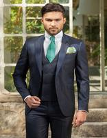 Fashionable One Button Dark Navy Groom Tuxedos Groomsmen Mens Wedding Suits Formal Dress Jacket Pants Vest