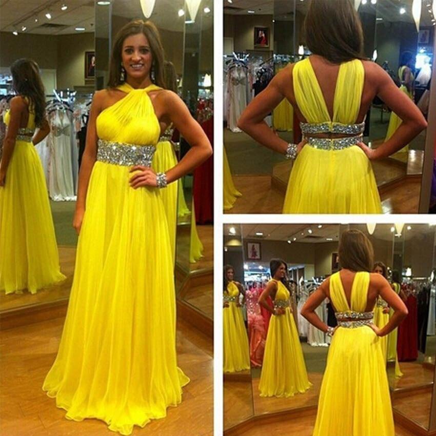 Vestidos de fiesta amarillos largos