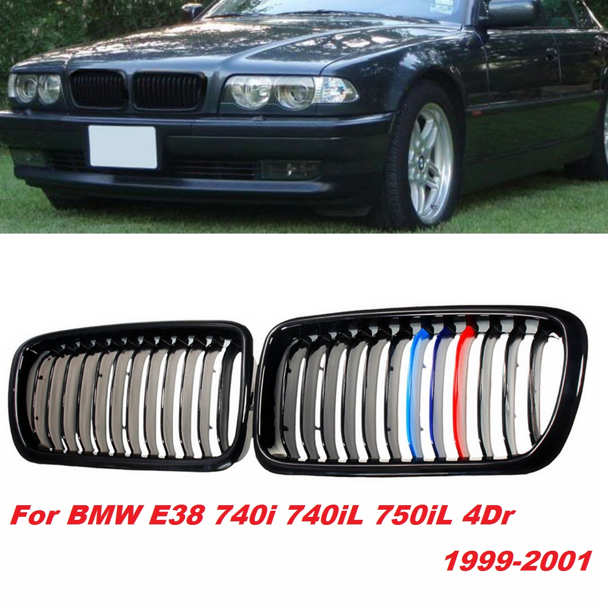 Pair M Color ABS plastic Front Sport Kidney Bumper Hood Grilles Grill for BMW E38 740i 740iL 750iL 4Dr 1999 2000 2001