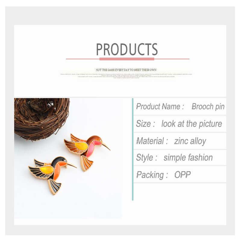 1 pceブローチ漫画動物バッジエナメルピン鳥ブローチ用女性レディ古典ファッションアクセサリーセーター装飾ピン