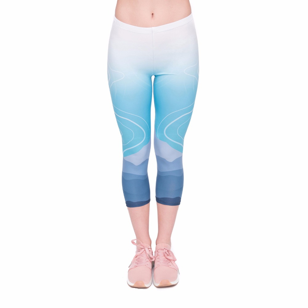 High Quality Summer Women Capri Leggings Wild Moutain Printing Sexy Mid-Calf 3/4 Fitness Movement Leggins Capri Pants
