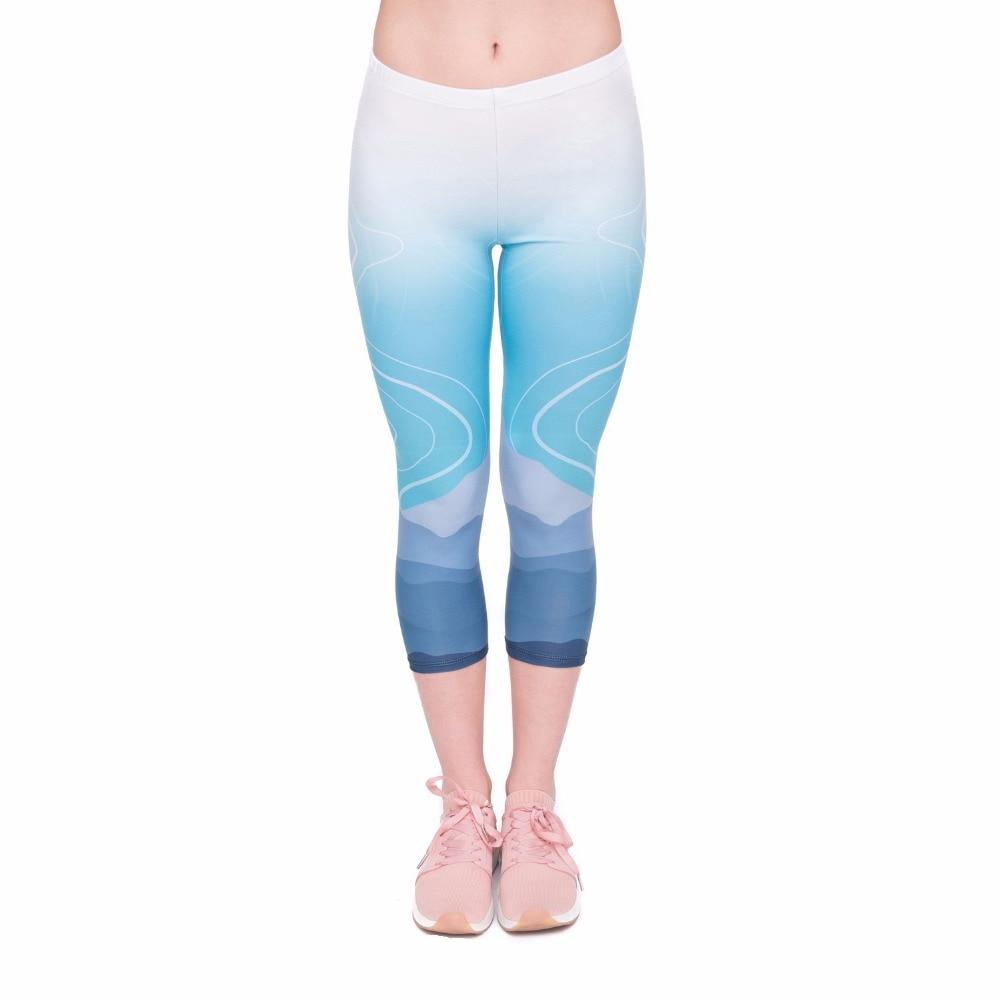 High Quality Summer Women Capri Leggings Wild Moutain Printing Sexy Mid-Calf 3/4 Fitness Movement Leggins Capri Pants