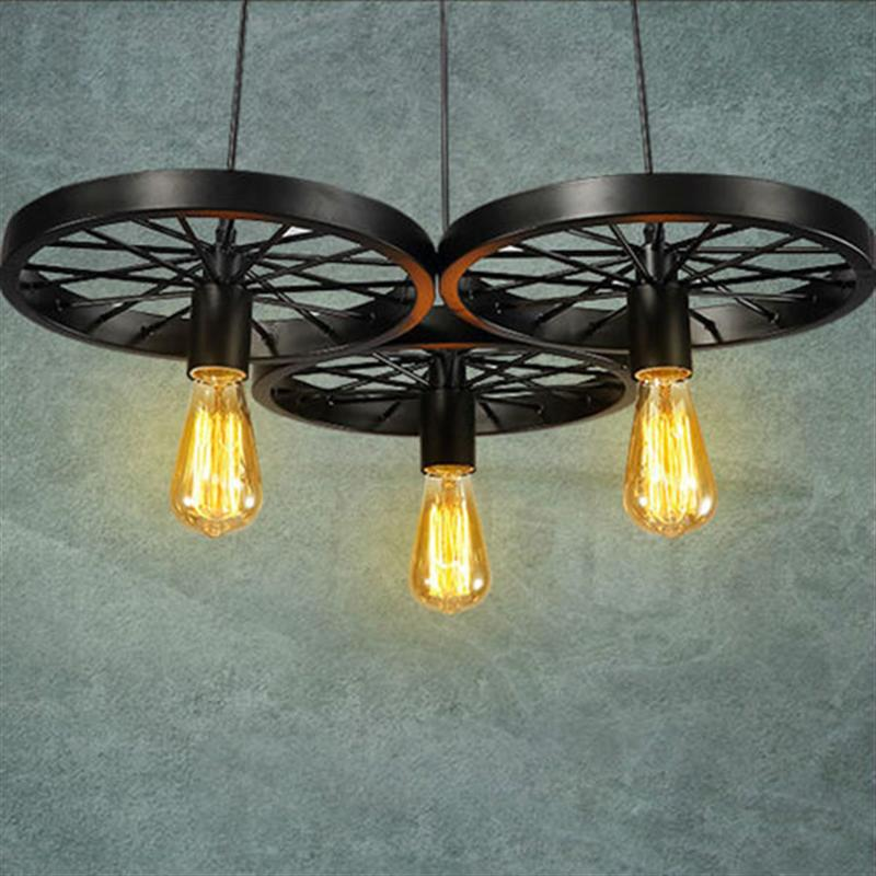 Nordic Vintage Loft Pendant Light Retro Wheel Droplight Iron Industrial Hanging Lamp For DiningRoom With 3 Light Head edison loft style vintage light industrial retro pendant lamp light e27 iron restaurant bar counter hanging chandeliers lamp