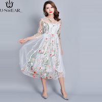 4b68f2b7b8 2018 Chino Wind Heavy Tulle Embroidery Flower Dresses Seven Dress High  Fashion Embroidered A Word Dress