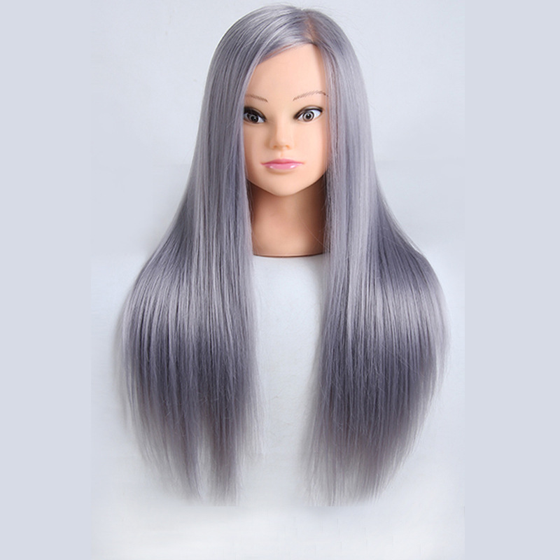 Mannequin Head Gray Hair Professional Styling Hairdressing Doll Heads For Hairdresser Training Practise Makeup Manequim