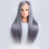 Mannequin Head Professional Gray Hair Styling Wig Head Hairdressing Doll Heads For Hairdresser Training Practise Makeup Manequim