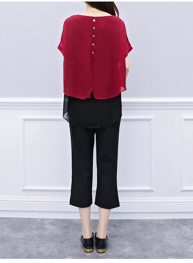 Black Red Summer Two Piece Sets Women Plus Size Short Sleeve Blouses And Cropped Pants Suits Casual Loose Women's Sets Clothing 35