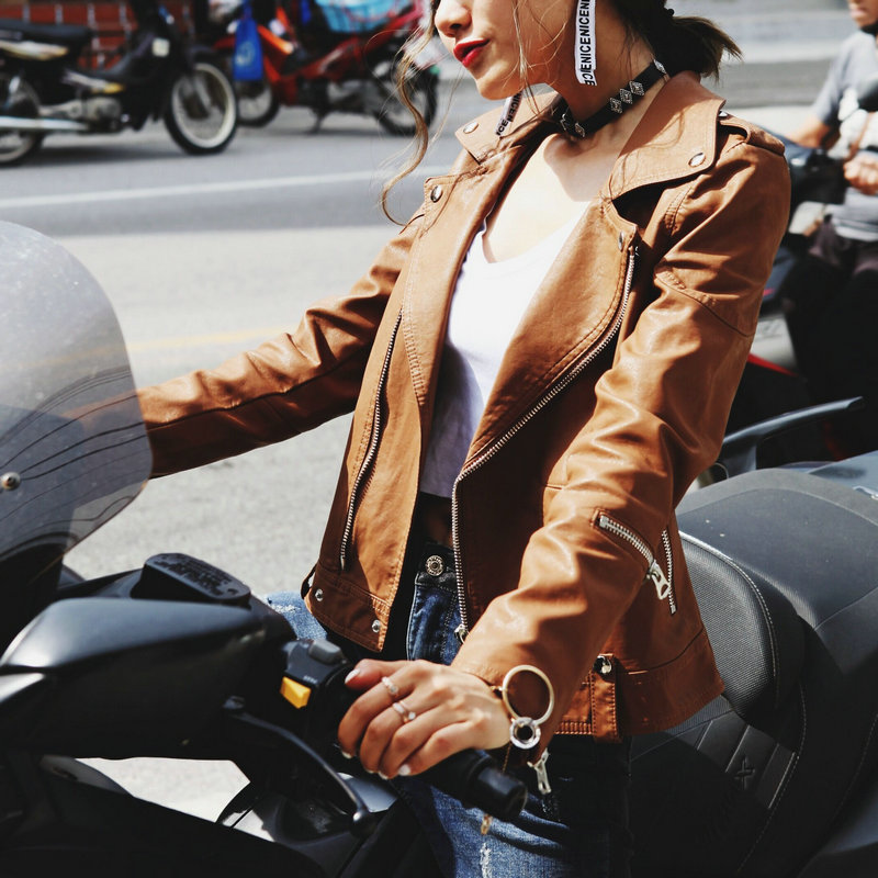 2018 New Autumn Winter Women Soft Faux Leather Jackets and Coats Lady Zippers Motorcycle Biker PU Outerwear Cool Coffee Wine Red