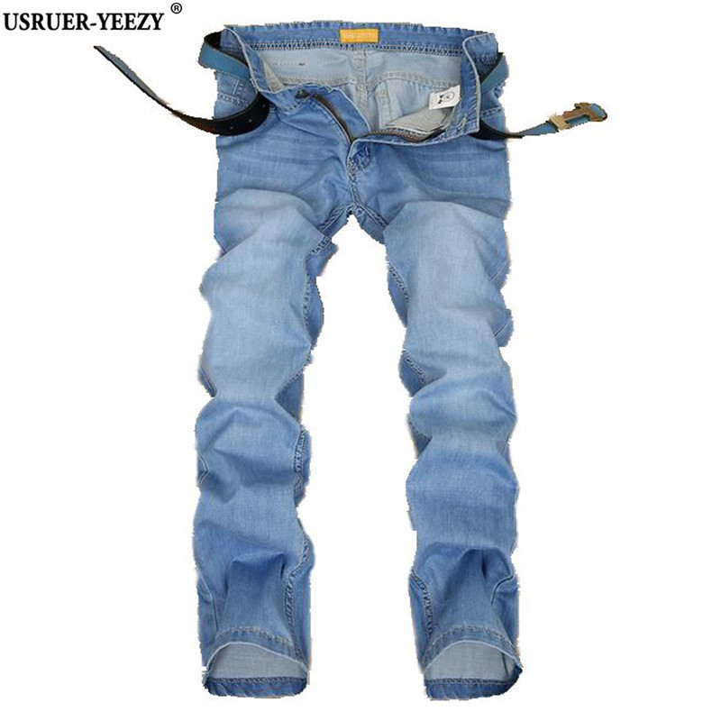 USRUER-YEEZY New Jeans Men Winter Jean High Quality Brand Men's Trousers Big Size Male Pants Fashion Jean Robin Pants Light Blue xmy3dwx n ew blue jeans men straight denim jeans trousers plus size 28 38 high quality cotton brand male leisure jean pants