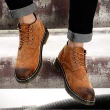 513df4c4f3 De los hombres de cuero genuino botas de otoño invierno tobillo botas  calzado de moda de los zapatos de los hombres Vintage de a.