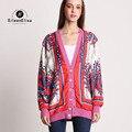 Pista Camisola Cardigan Floral Blusas de Impressão Das Mulheres 2017 De Luxo