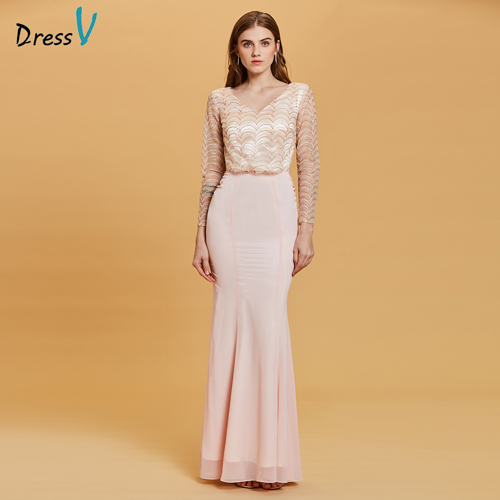 Dressv pearl pink evening dress cheap v neck long sleeves lace ...