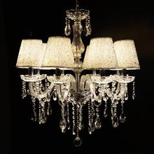 Несколько Люстра кристалл серебряный абажур Европейский контракт кристалл лампы кристалл droplight гостиная столовая огни