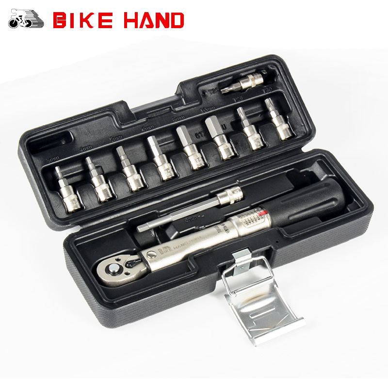 BIKE HAND Bicycle Torque Wrench Allen Key Tool Socket Spanner Set Kit Cycling Bike Repair Tool Kits 1/4'' Torque Fix Set 2-24 NM недорго, оригинальная цена