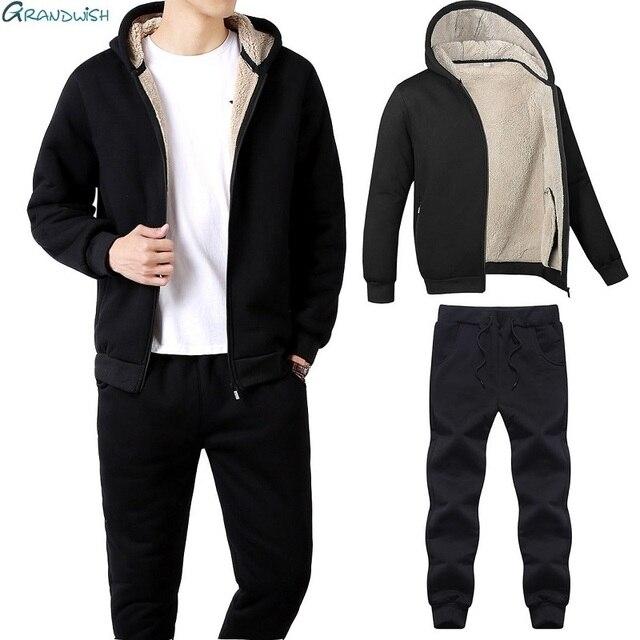 a9bd1a68db53 Grandwish/зимние мужские спортивные костюмы, флисовые теплые повседневные  куртка + ...