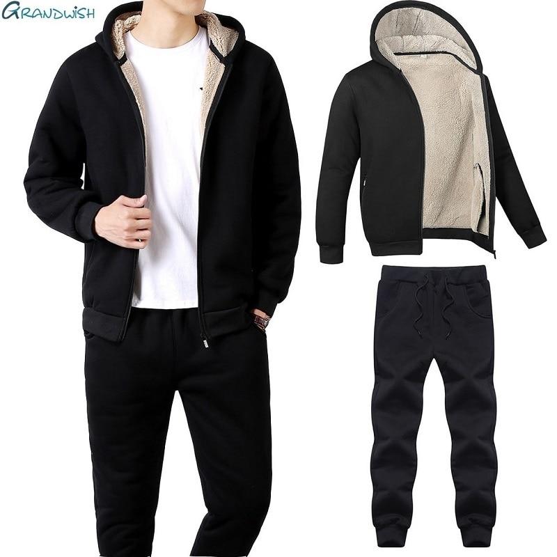 Grandwish Winter Men Sweat Suits Fleece Warm Mens Tracksuit Set Casual Sportwear Suits Jacket + Pants Thick Slim Fit Sets,DA976