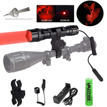 300 Yard Portable Ultra Bright Handheld red light LED Flashlight Zoomable Adjustable Focus Outdoor Water Resistant Torch