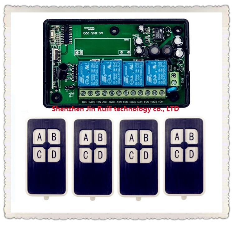 New AC85-250V 110V 220V 230V  RF 4CH Wireless Remote Control Relay Switch Security System Garage Doors & Electric Doors 4ch rf wireless remote control relay switch security system1receiver