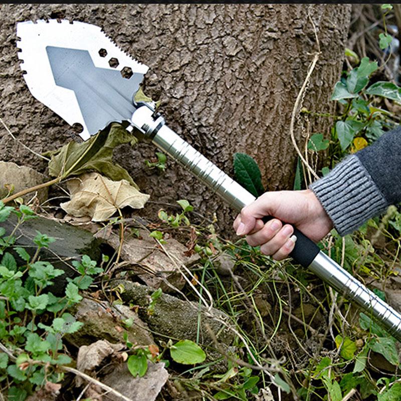 [Bio safe] Stainless Steel Garden Tools Folding Portable Hand Shovel Garden Outdoor Camping Trowel Outdoor Self Defense Tools stainless steel cuticle removal shovel tool silver