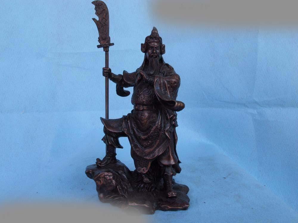 Ev ve Bahçe'ten Statü ve Heykelleri'de Çin Kırmızı Bronz Bakır Ejderha Guan Gong Guan Yu Savaşçı Tanrı Buda Heykeli SD 506 title=