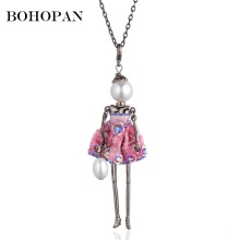 цена на Statement Necklace Women Cute Dress Pearl Doll Pendants Necklaces Long Chain Handmade Necklace Fashion Jewelry Girl Party Gift
