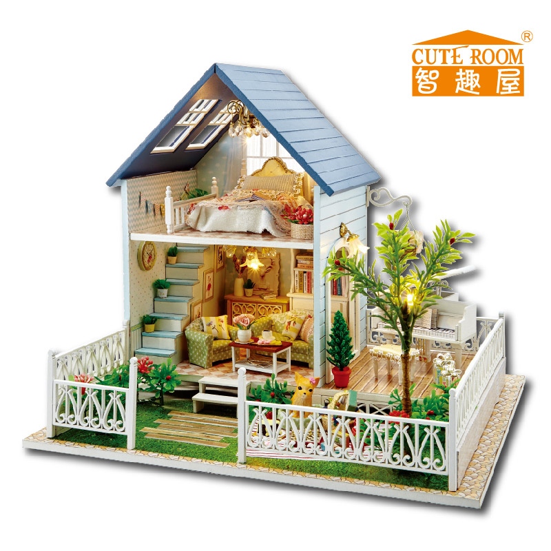 Home Decoration Crafts DIY Doll House Wooden Doll Houses Miniature DIY Dollhouse  Furniture Kit Villa LED Lights Gift A 030 In Doll Houses From Toys ...