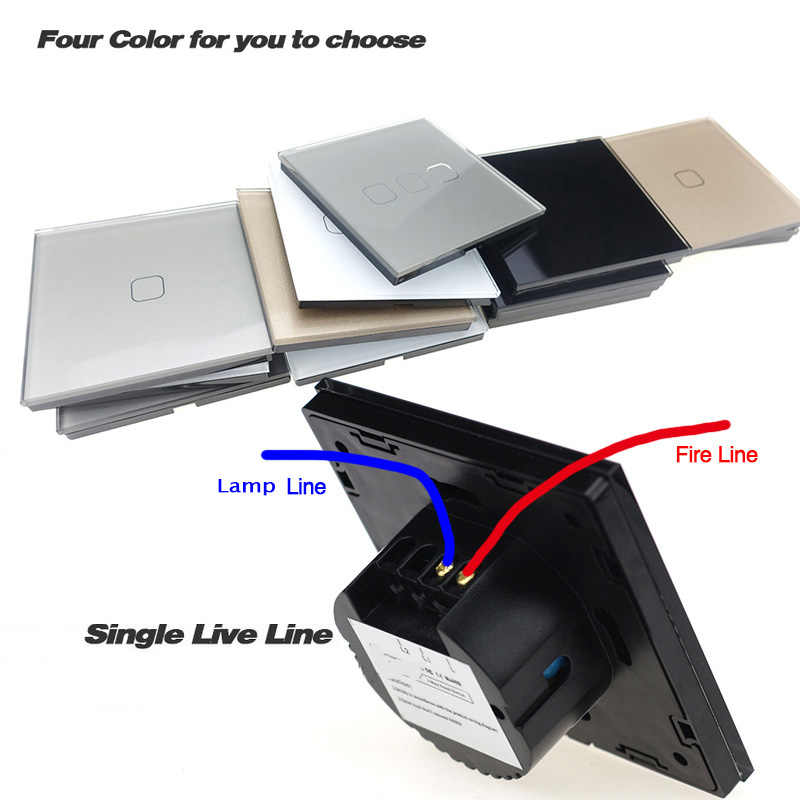 Бесплатная доставка стандарт ЕС 1 2 3 банды 1 способ настенный светильник контроллер умный дом автоматизация сенсорный выключатель EU-1G1W