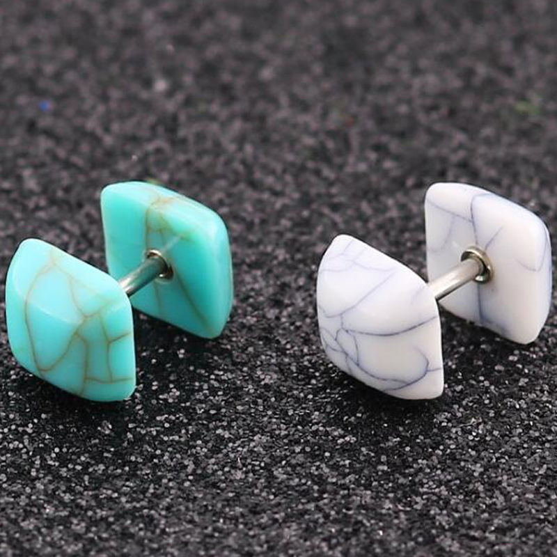 2Pieces Stainless Steel Round Barbell Stud Earring Punk Screw Earrings Heart Stone Love Fake Ear Plug Body Piercing Jewelry