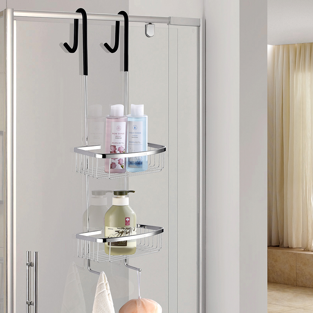 Free Shipping SUS304 Stainless Steel Multifunctional Anti Slip Double Basket Hanging Basket Storage Shelf   With Hook bathroom stainless steel shower shelf caddy basket storage with robe hook chrome 09 117
