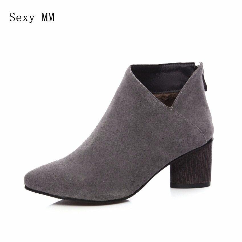 5d50ae2a Más Negro gris 34 Calidad Alta Square Zapatos 41 43 Tamaño Altos 40 Tacones  42 Mujeres Botines marrón amarillo Otoño Mujer Primavera Botas Invierno ...