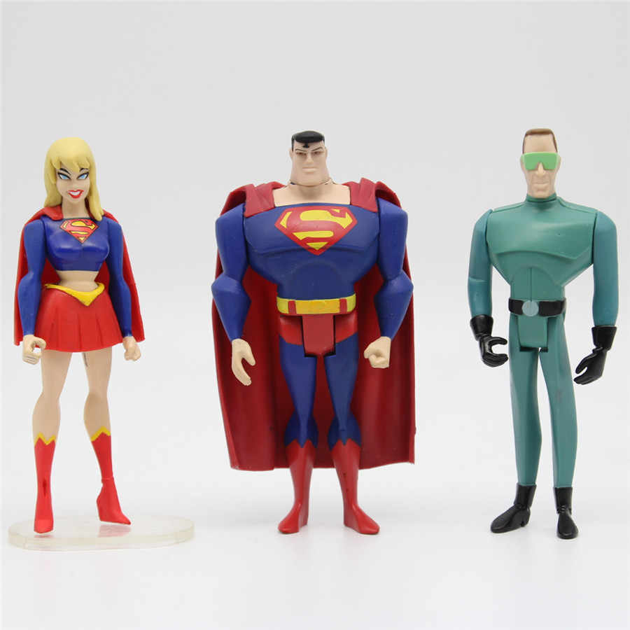 DC Universe JUSTICE LEAGUE UNLIMITED lotes de 3 pcs Superman Supergirl ASSISTENTE CLIMA Super Hero Action Figure Toys