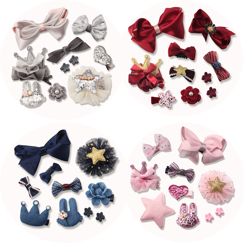 M MISM 10PCS Crown Bow Ribbon Flower Ribbon Hairgrip Cute Hairpins Hair Accessories Set Clip Gift For Girls Kid Party Festival m mism classic nonwoven flower for kids hairgrip girls children cute hairpins hair accessories head wear hair clips