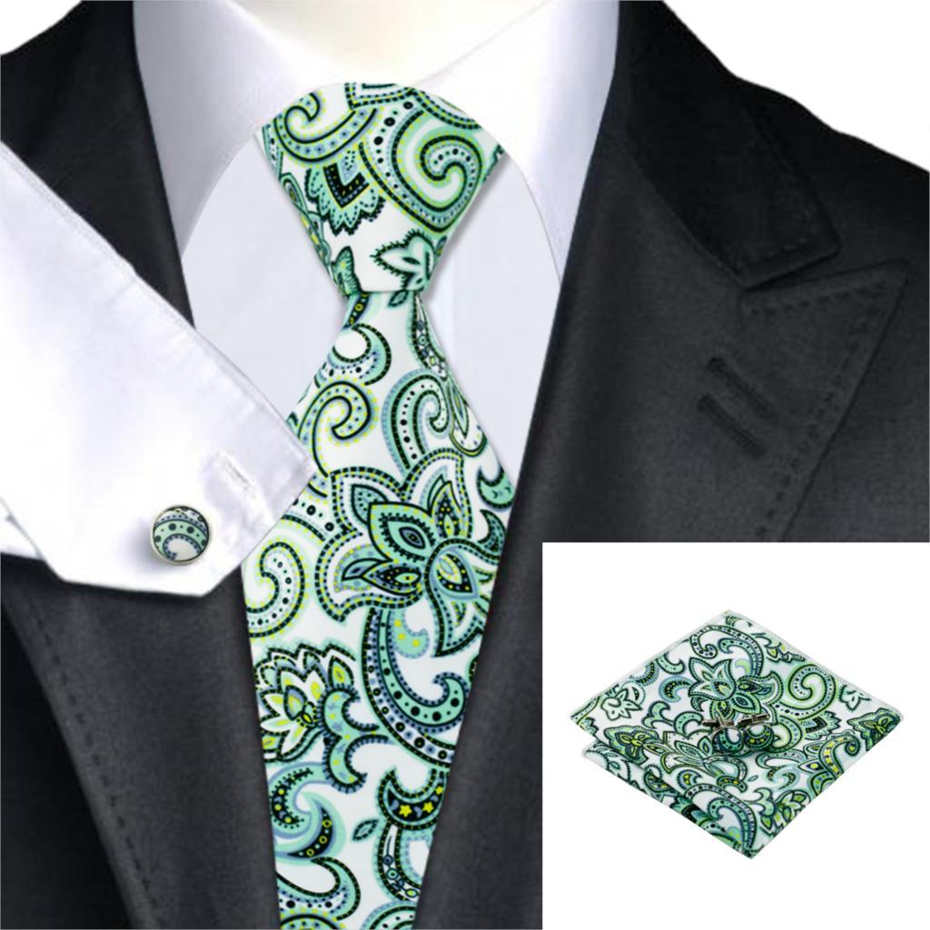 C-1211 Print Mens Tie Handkerchief Cufflinks Newest Design Neck Ties For Men Suits Jacquard Silk Cravates