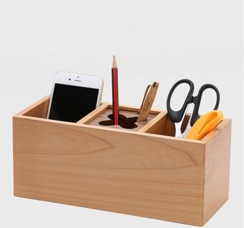 Handmade 3 grids storage box 100% wood remote controller storage rack office organizer coffee table desktop holder bande réfléchissante scooter orange pour fourche