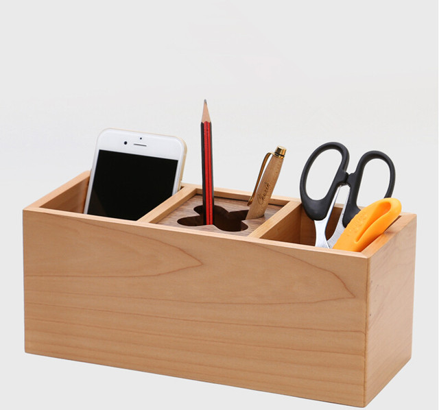 Charmant Handmade 3 Grids Storage Box 100% Wood Remote Controller Storage Rack  Office Organizer Coffee Table