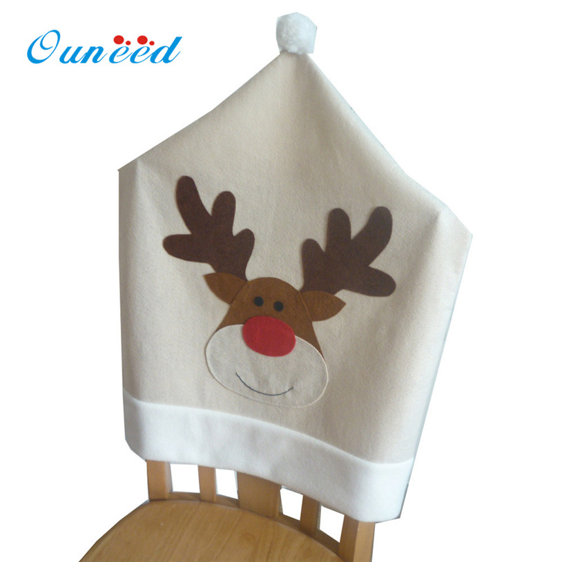 4PC Deer Hat Chair Covers Christmas Decor Dinner Chair Xmas Cap Sets holiday Decoration 2018 Dropshipping