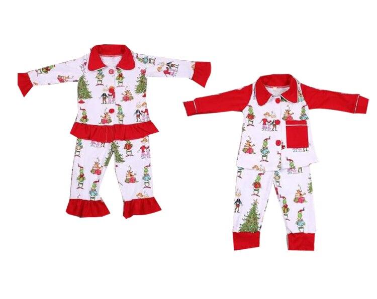 2019 novo design do bebê meninas grinch impressão eua árvore de natal padrão conjunto de pijamas de inverno conjunto de roupas para crianças 7-8year old