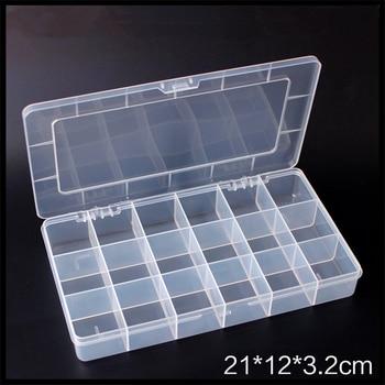 Прозрачной прямоугольной пластиковой коробке 18 фиксированной сетки пластиковые винты электронных компонентов