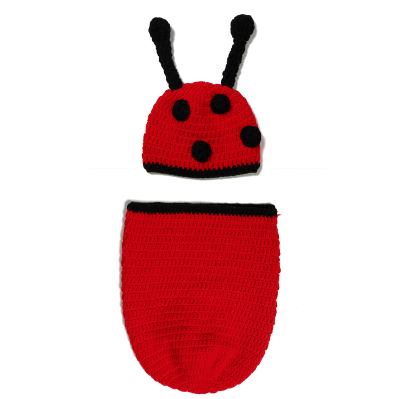 Hand-knit Beetle Models Infant Crochet Wool Warm Knitting Sleeping Newborn Baby Pictures Photography Props Hundred Days Cothing