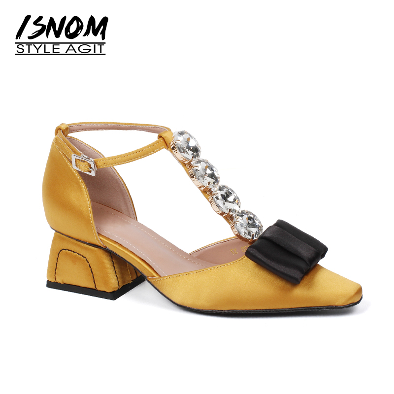 ISNOM Summer T Strap High Heels Sandals Women Butterfly Knot Strange Style Satin Crystal Footwear Fashion Party Female Shoes mccarthy t satin island