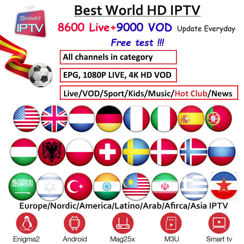 IPTV Subscription Europe Germany Dutch UK Sweden French Poland Spain USA Arabic Indian Albania Australia android Smart IPTV m3u