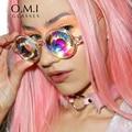 Who Cutie 2017 Kaleidoscope Sunglasses VERSAE Women Retro Round Crystal Lense Prism Glasses Lady Gaga Celebrity Cosplay Party