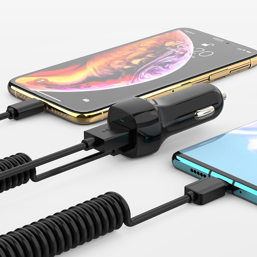 USB Автомобильное зарядное устройство для IPhone X 6 7 8 XS Max телефон зарядное устройство автомобиль Micro usb type C освещение для samsung S10 S9 Plus Быстрая зарядка