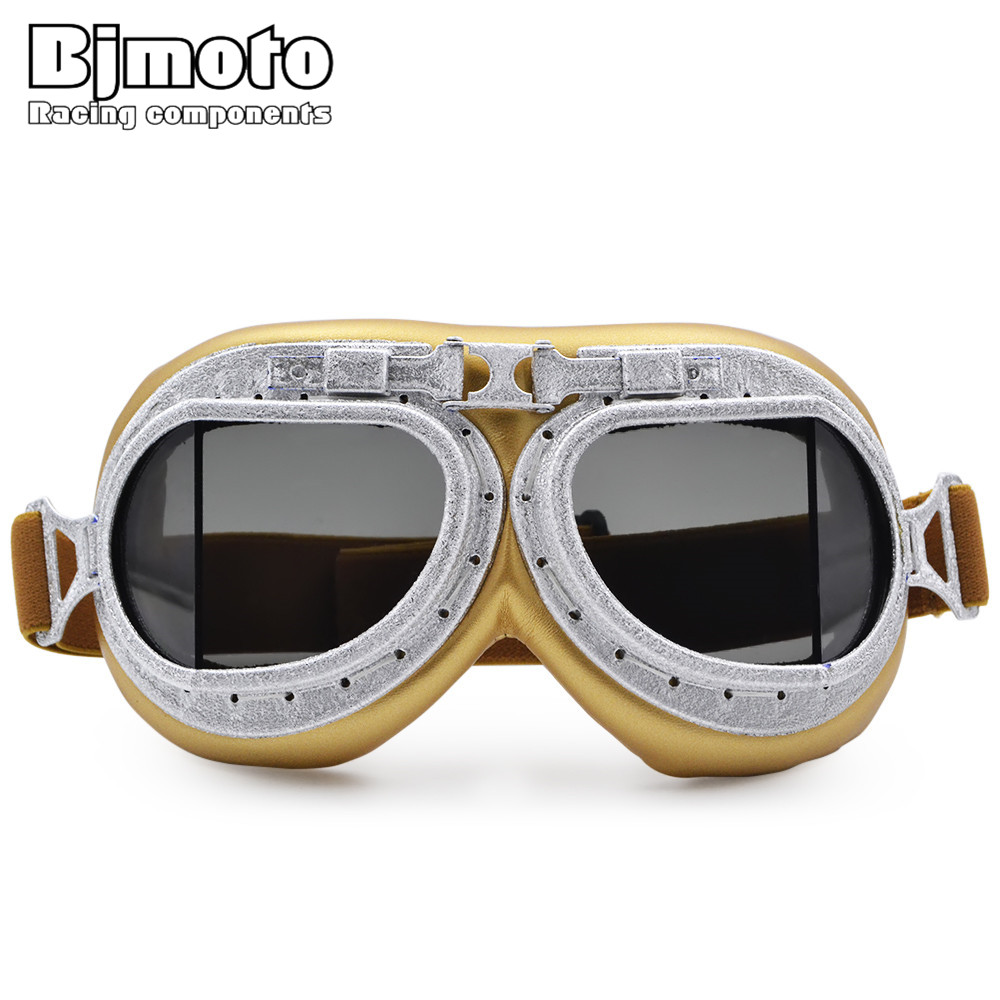 BJMOTO 2017 New Motorcycle Goggles Motocross Goggle Moto Scooter Glasses Aviator Pilot Cruiser WWII Vintage Harley Gafas