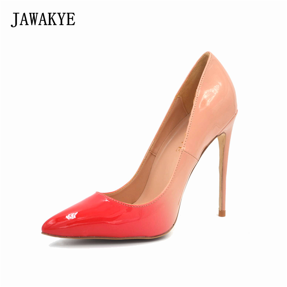 Spring Fall red nude super high heels lady pumps patent letaher dress shoes women pointed toe stiletto Zapatos mujer salto alto tama hp910 7s super spring only