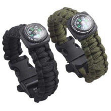 20^1PC Outdoor Camping Paracord Parachute Cord Emergency Survival Bracelet Rope with Whistle Buckle Army Green(China)
