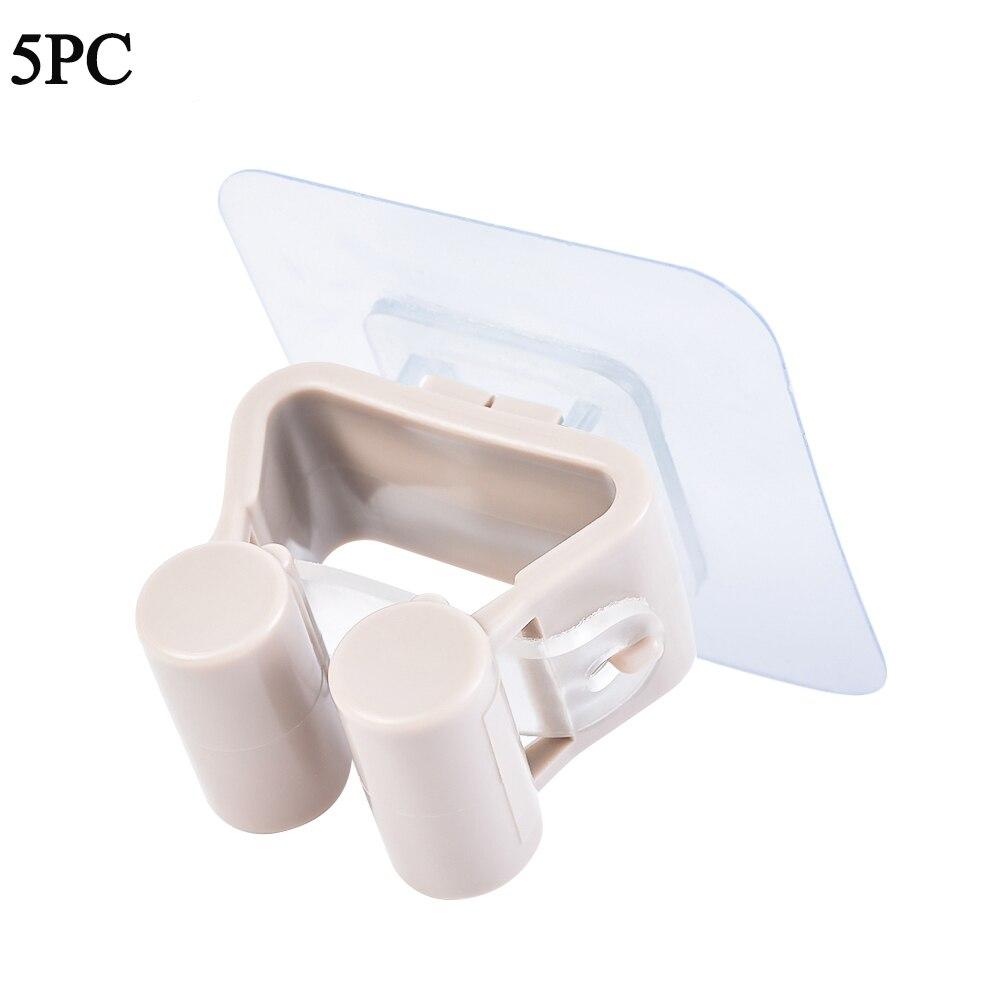 Настенный держатель для швабры, органайзер, кухонный клей, настенный держатель для швабры, держатель для хранения, метла, вешалка, зажим для швабры, крючок, стойки - Цвет: Khaki 5pc